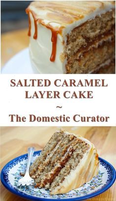 Layers of brown sugar cake filled and topped with caramel frosting. and drizzled with fresh caramel and fleur de sel make this Salted Caramel Layer Cake a decadent, delicious and almost sinful dessert everyone will love! Caramel Frosting, Caramel Cakes, Brown Sugar Cakes, Tasty Pastry, Homemade Cake Recipes, Sweet Tooth, Cooking Recipes, Favorite Recipes, Snacks