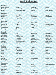 A beach packing list when going on vacation Packing List For Vacation, Florida Vacation, Packing Tips, Travel Packing, Travel Hacks, Travel Tips, Vacation Deals, Travel Deals, Florida 2017