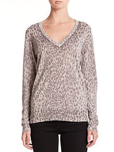 Equipment - Cecile Cashmere Animal-Print Sweater