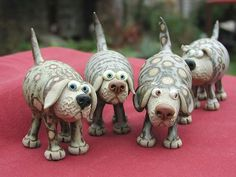 Collectable Miniature Pottery Leggy Dog - standing