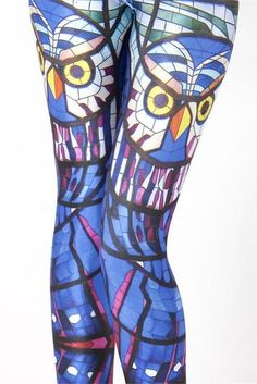 Fashion Women Cathedral Glass Owl Leggings Slim Fit Thin Elastic Polyester Cosplay Party Pants Casual Trousers Drop Shipping #StainedGlassOwl