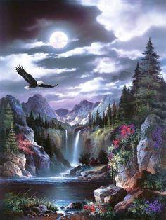 EagleBy Alma Lee Art Print: Moonlit Eagle Art Print by Alma Lee by Alma Lee : Print: Moonlit Eagle Art Print by Alma Lee by Alma Lee : Eagle Pictures, Nature Pictures, Art Pictures, Fantasy Landscape, Landscape Art, Landscape Paintings, Native Art, Native American Art, American Indians