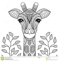 Zentangle Giraffe Head Stock Vector - Image: 59688565