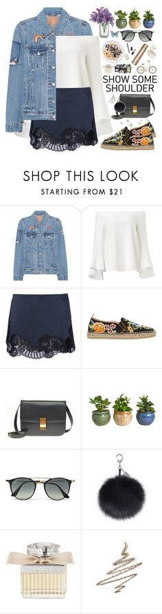 """""""2554. Shimmy, Shimmy: Off-Shoulder Tops"""" by chocolatepumma ❤ liked on Polyvore featuring Levi's, Vanessa Bruno, Etro, CÉLINE, Ray-Ban, Chloé, Anastasia Beverly Hills, polyvorecontest and offshouldertops"""