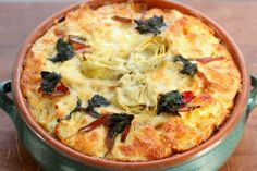 Artichoke, Swiss Chard, & Cheese Bread Pudding | Spiced Peach Blog