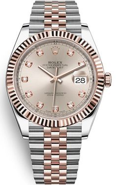 Rolex Datejust 41 mm Steel 18K Everose Gold Case Diamond Sundust Dial Fluted Bezel Jubilee Bracelet Watch Reference 126331-0008 / 126331SNDJ