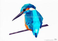 Sacred Kingfisher, Geometric print, Original illustration, Animal print, Minimal art, Nursery wall art