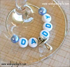 #wine #glass #charm by Winky's Widgets - #gender #reveal #party - #christening - #naming ceremony - #blue #daddy - #gift #idea