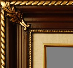 """Beautiful Picture Frame! Perfect For Artwork, Photographs, Canvas Paintings, Oil Paintings, Watercolor Paintings, Acrylic Paintings, Portraits, Wedding Pictures, Diplomas, Family Photographs & More.  Classic Walnut Gold Linen 3.25"""" Wide Picture Frame."""