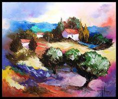Couleur de Provence (Peinture),  50x60 cm par Olivier PFLEGER Peinture à l'huile sur toile réalisée au couteau  montée sur châssis à clef.