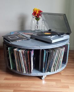 Repurposed Cable Reel Spool Media Center Turntable Stand with Vinyl Record Storage in Weathered Gray by Rustoregon on Etsy https://www.etsy.com/listing/291239803/repurposed-cable-reel-spool-media-center