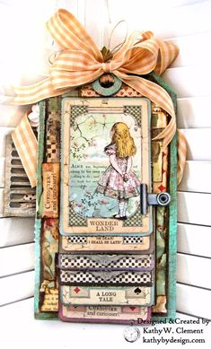 Stamperia Alice Tim Holtz Etcetera Tag Prima Venetian Shutters Seth Apter Baked Velvet Mixed Media Tag with Shaker Box Window by Kathy Clement Kathy by Design Photo 02 Tag Art, Paper Art, Paper Crafts, Mini Albums Scrapbook, Mini Album Tutorial, Handmade Tags, Distressed Painting, Graphic 45, Card Tags