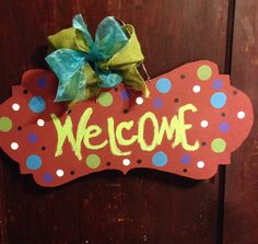 Personalized Wooden Banner Door Hanger by delinskidesigns on Etsy