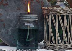 Mason jar oil lamp - a great idea