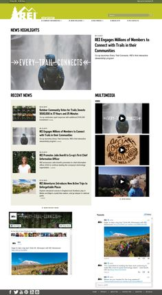 """REI launches an online newsroom that focuses on stories about their customers, products and employees. The site features embedded video and several photo albums, including many high-resolution, print-ready images of hiking trails featured in their recent """"Every Trail Connects"""" campaign."""