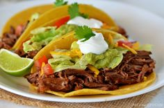 Today's recipe has to be one of my favorites. These Shredded Beef Tacos are AMAZING! So flavorful, so delicious and made in the beloved crock pot. :)       As the b...