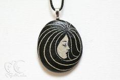 Hand painted stone, black pendant: original painting on stone, unique pebble art as pendant