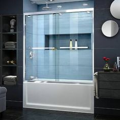 DreamLine Encore 56 to 60 in. x 58 in. Semi-Frameless Sliding Bypass Tub Door in - The Home Depot DreamLine Encore 56 to 60 in. x 58 in. Semi-Frameless Sliding Bypass Tub Door in Chrome - - The Home Depot Bathtub Shower Combo, Glass Shower, Bath Shower, Bath Tub, Bathtub Doors, Frameless Sliding Shower Doors, Sliding Doors, Shower Enclosure, Glass Design