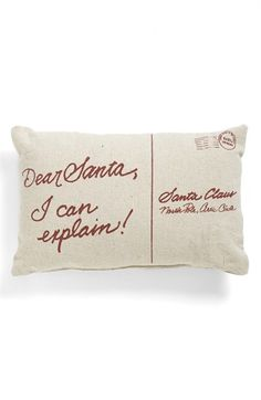 Primitives by Kathy 'Dear Santa' Pocket Pillow available at #Nordstrom; Have Embroidery Library saying, like the postcard look.