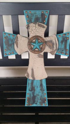 Western layered wooden cross by MorgansCustomCrosses on Etsy