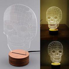 New 3D Skull Wood Mood Bulbing Night Light Led Micro USB Table Lamp Gift