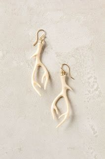 The Gilded Hare: DIY Stag Earrings. Use general idea of tutorial, but mix translucent and white clay and shape around a wire frame for strength + delicacy.