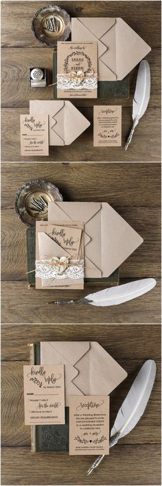 Rustic country wedding invitations @4LOVEPolkaDots