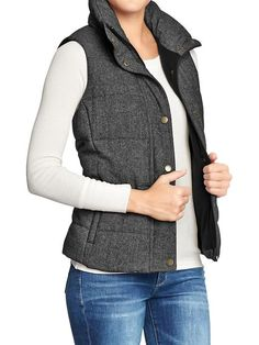 Old Navy | Women's Quilted Tweed Vest in black tweed. Still on the fence about puffer vests, maybe try on.