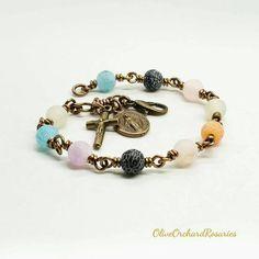 Rosary Bracelet, Rosary Beads, Handmade Bracelets, Beaded Bracelets, Catholic Gifts, Agate Stone, Handmade Items, Handmade Gifts, Mornings
