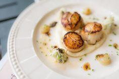 Coquilles+saint-jacques+rôties+au+beurre+de+cidre,+crème+de+chou-fleur