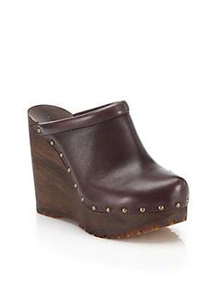 See by Chloé Clive Faux-Leather Platform Wedge Clogs - Brown - Si