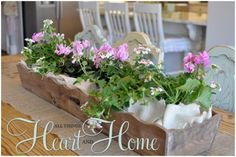 Flowers From Table to Garden! - All Things Heart and Home Wooden Centerpieces, Table Decorations, Tablescapes, Bouquet, Entertaining, Floral, Flowers, Plants, Gardens