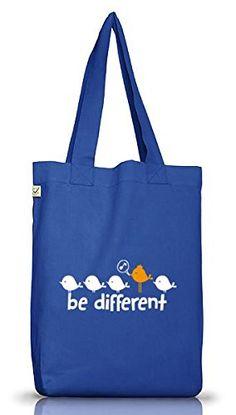 Shirtstreet24, Be Different, Jutebeutel Stoff Tasche Earth Positive (ONE SIZE), Größe: onesize,Bright Blue - http://herrentaschenkaufen.de/shirtstreet24/one-size-shirtstreet24-be-different-jutebeutel-3