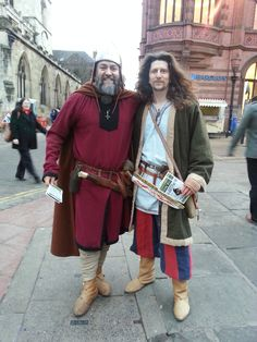 Sigwulf & Hrothgar handing out flyers for The Original Viking Walk, today in York!  Running weekends and holidays.   www.facebook.com/originalvikingwalk  www.northernforge.co.uk/page/originalvikingwalk  Twitter: @VikingWalk  www.facebook.com/likenorthernforge