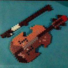 * Violin hama perler beads by eduardoatom Perler Bead Designs, Pearler Bead Patterns, Perler Bead Art, Perler Patterns, Cute Crafts, Bead Crafts, Hama Beads 3d, Basson, Pixel Art Templates