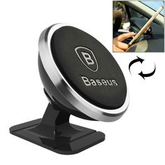 [$3.15] Baseus 360 Degree Rotatable Universal Magnetic Mount Holder with Sticker for iPhone 6s Plus & 6 Plus & 6s & 6 & 5 & 5S & 5C & SE, Samsung Galaxy S7 & S6, Xiaomi Mi 5, Sony, HTC, Huawei(Silver)