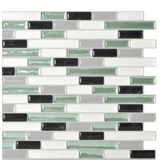 "Smart Tiles Mosaik 10.25"" x 9.13"" Mosaic Tile in White & Soft Green & Reviews 