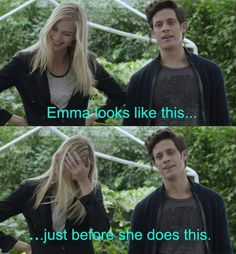 The two looks of Emma Ishta when Kyle Harris cracks her up.