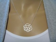 Rose Necklace - Flower Charm - Modern - Casual - Bridesmaids Gift - Thank You Gift - Birthday - Teacher Gift