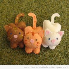Broche fieltro con forma de gato, manualidades para regalar 2
