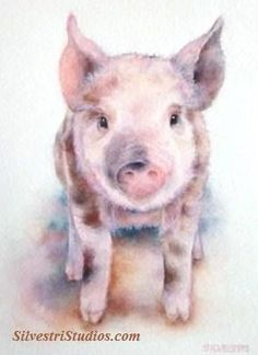 """""""Patches Pig"""", watercolor pig painting by animal artist Teresa Silvestri.   Available as  a cute art print and greeting cards. Perfect for the pig art nursery and farmhouse decor!  To view more animal art by Teresa Silvestri, visit www.SilvestriStudios.com"""