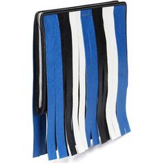 Balenciaga Bazar Fringed Leather Clutch ($835) ❤ liked on Polyvore featuring bags, handbags, clutches, blue leather purse, balenciaga purse, genuine leather handbags, fringe purse and blue purse