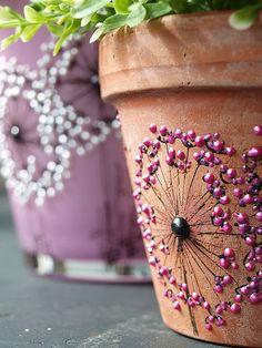 Nastami – Everyone is involved !: Make wedding invitations yourself - Diy Crafts Flower Pot Crafts, Clay Pot Crafts, Diy And Crafts, Painted Plant Pots, Painted Flower Pots, Pots D'argile, Clay Pots, Garden Crafts, Garden Art