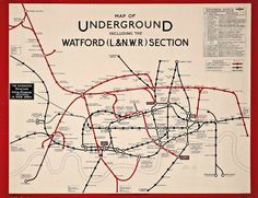 Map of Underground, 1919, printed by Waterlow & Sons Ltd.
