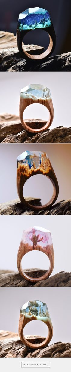 Snowy Mountains and Undersea Worlds Encapsulated Within Wood and Resin Rings | Colossal - created via https://pinthemall.net