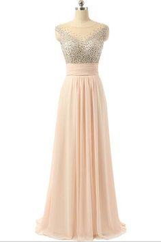 AHP234 New Arrival Long Beaded A-line Open Back Elegant Prom Dresses 2017