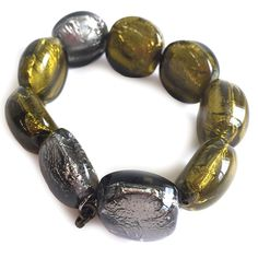 RICH OLIVE GOLD & PEWTER METALLIC GLOSSY GLASS PEBBLE BEADS MAKE PANDORA A DREAM TO WEAR. WITH STRETCH SO ONE SIZE FITS ALL. Button Jewellery, Jewelry, Pewter Metal, Aw17, How To Make Beads, Winter Season, Stretch Bracelets, One Size Fits All, Happy Shopping