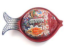TURKISH CERAMIC BOWL/  JEWELRY BOX, LUCKY FISH