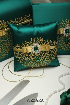 dresses satin gold Ring pillows Green wedding Wedding ring pillows Green and gold wedding Ring pillow for wedding Green wedding colors Ring Bearer Pillows, Ring Pillows, Couch Pillows, Wedding Pillows, Ring Pillow Wedding, Pillow Crafts, Wedding Mint Green, Cushion Cover Designs, Gold Wedding Rings