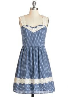 Got It Down Home Dress. When it comes to looking cute in the country one day and the city the next, this polka-dotted dress has you covered! #blue #modcloth